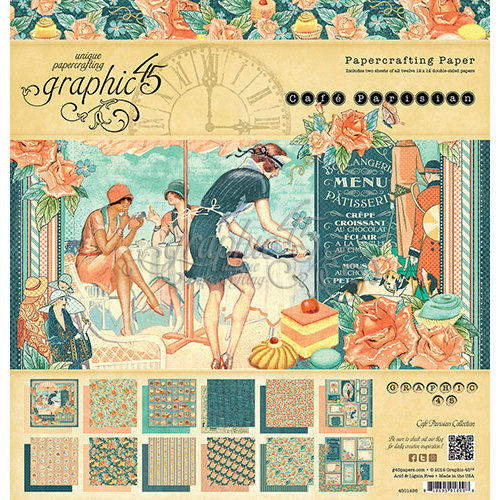 Graphic 45 - Cafe Parisian Collection - 12 x 12 Paper Pad