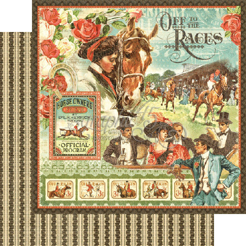 Graphic 45 - Off to the Races Collection - 12 x 12 Double Sided Paper - Off to the Races