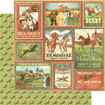 Graphic 45 - Off to the Races Collection - 12 x 12 Double Sided Paper - Belmont Stakes