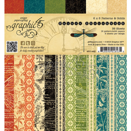 Graphic 45 - Nature Sketchbook Collection - 6 x 6 Patterns and Solids Paper Pad