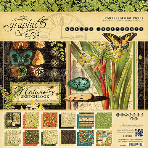 Graphic 45 - Nature Sketchbook Collection - 12 x 12 Paper Pad