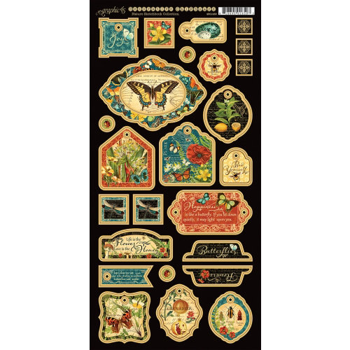 Graphic 45 - Nature Sketchbook Collection - Die Cut Chipboard Tags - One