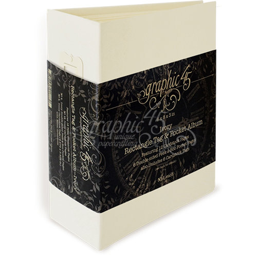 Graphic 45 - Staples Collection - Rectangle Tag and Pocket Album - Ivory
