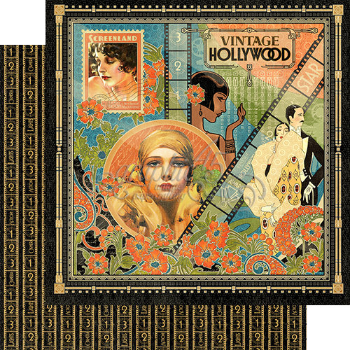 Graphic 45 - Vintage Hollywood Collection - 12 x 12 Double Sided Paper - Vintage Hollywood