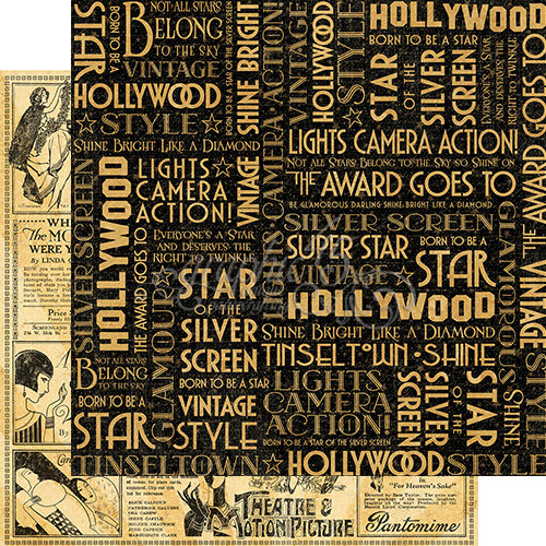 Graphic 45 - Vintage Hollywood Collection - 12 x 12 Double Sided Paper - Silver Screen