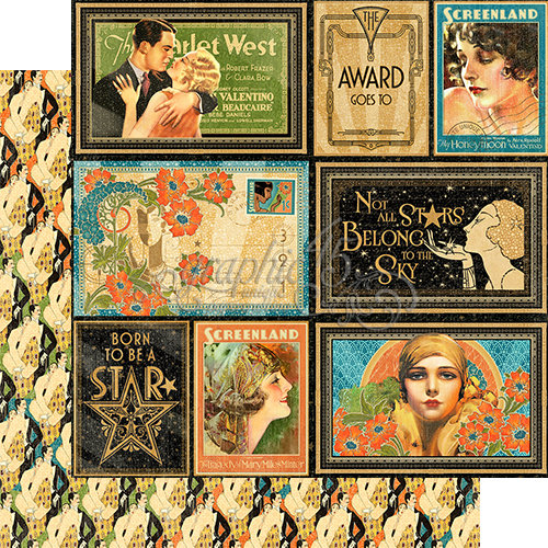 Graphic 45 - Vintage Hollywood Collection - 12 x 12 Double Sided Paper - Spotlight