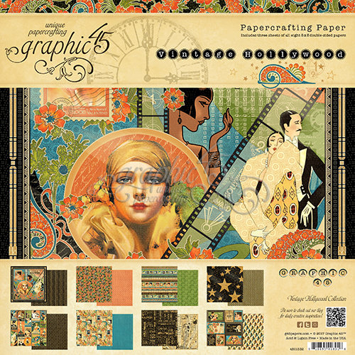 Graphic 45 - Vintage Hollywood Collection - 8 x 8 Paper Pad