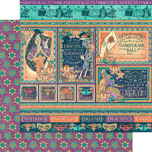 Graphic 45 - Midnight Masquerade Collection - 12 x 12 Double Sided Paper - Savor the Magic