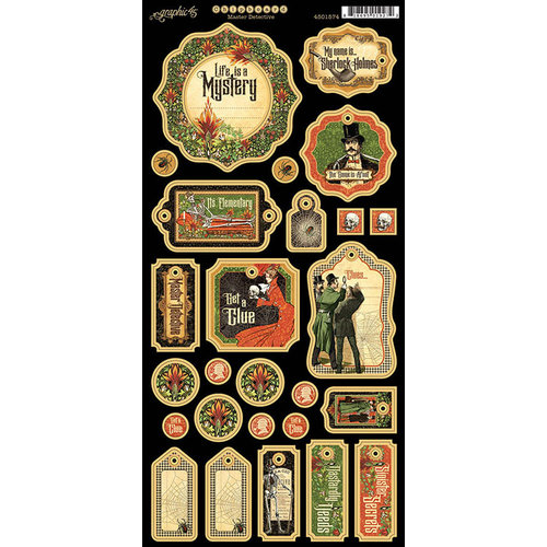 Graphic 45 - Master Detective Collection - Die Cut Chipboard Tags