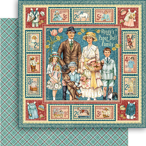 Graphic 45 - Penny's Paper Doll Family Collection - 12 x 12 Double Sided Paper - Penny's Paper Doll Family