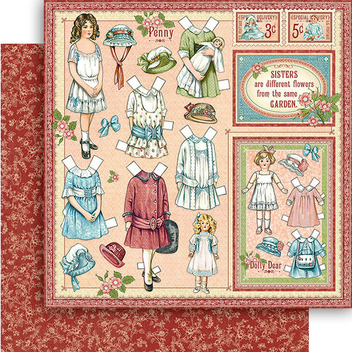 Graphic 45 - Penny's Paper Doll Family Collection - 12 x 12 Double Sided Paper - Sweet Sister