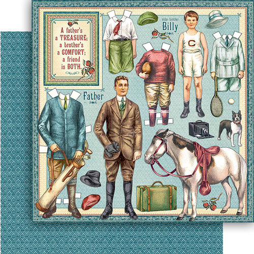 Graphic 45 - Penny's Paper Doll Family Collection - 12 x 12 Double Sided Paper - Fathers and Sons