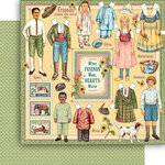 Graphic 45 - Penny's Paper Doll Family Collection - 12 x 12 Double Sided Paper - Forever Friends