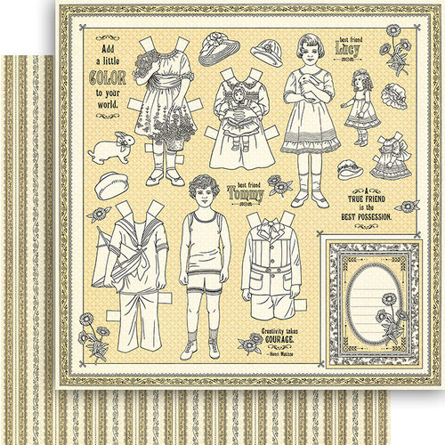 Graphic 45 - Penny's Paper Doll Family Collection - 12 x 12 Double Sided Paper - Color Your World