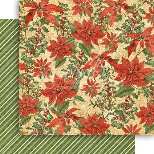 Graphic 45 - Winter Wonderland Collection - Christmas - 12 x 12 Double Sided Paper - Pretty Poinsettia
