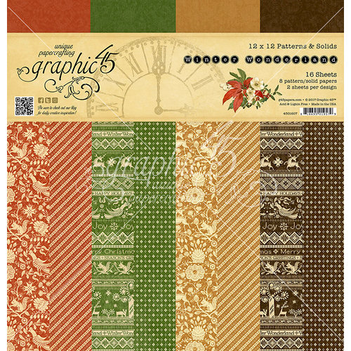 Graphic 45 - Winter Wonderland Collection - Christmas - 12 x 12 Patterns and Solids Paper Pad