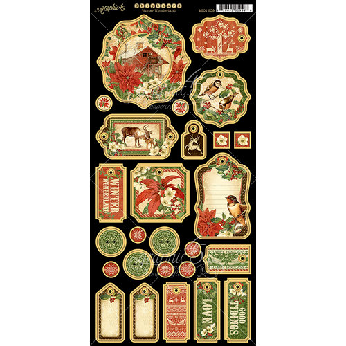 Graphic 45 - Winter Wonderland Collection - Christmas - Die Cut Chipboard Tags