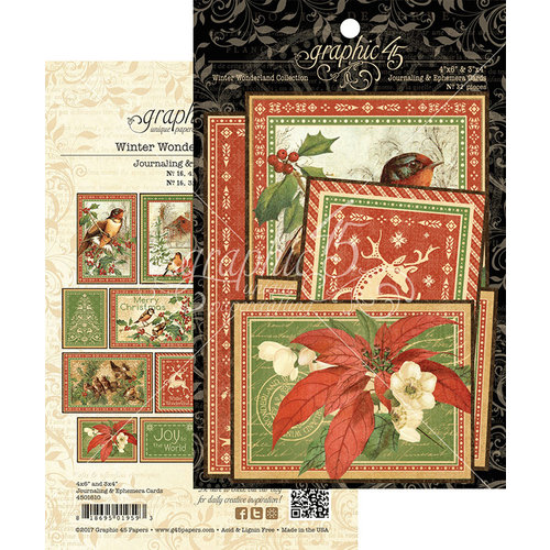 Graphic 45 - Winter Wonderland Collection - Christmas - Ephemera and Journaling Cards