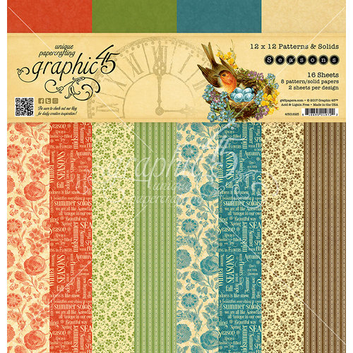 Graphic 45 - Seasons Collection - 12 x 12 Patterns and Solids Paper Pad