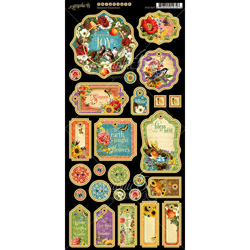 Graphic 45 - Seasons Collection - Die Cut Chipboard Tags
