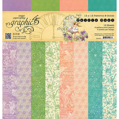 Graphic 45 - Fairie Dust Collection - 12 x 12 Patterns and Solids Paper Pad