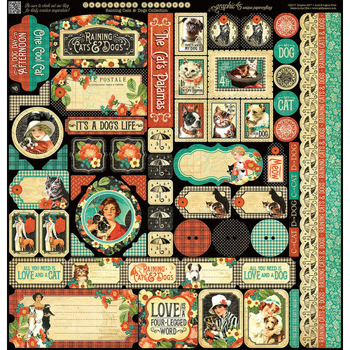 Graphic 45 - Raining Cats and Dogs Collection - Deluxe Collector's Edition - 12 x 12 Papercrafting Kit