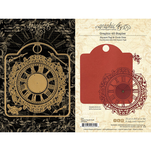 Graphic 45 - Staples Collection - Metal Dies - Square Tag and Clock