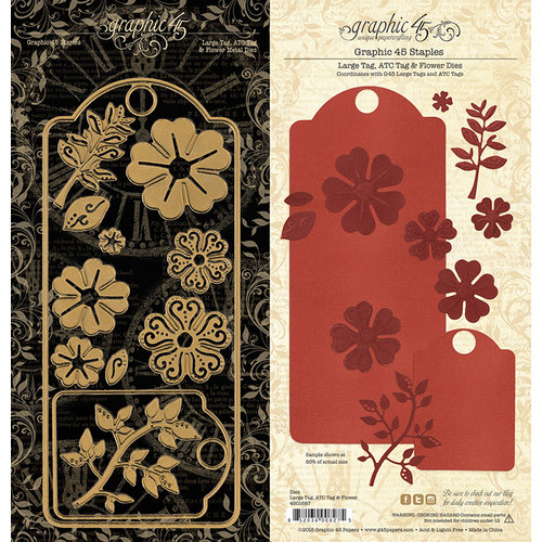 Graphic 45 - Staples Collection - Metal Dies - Large Tag, ATC Tag and Flower