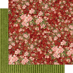 Graphic 45 - Floral Shoppe Collection - 12 x 12 Double Sided Paper - Burgundy Blossoms