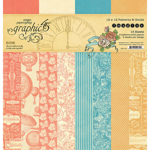 Graphic 45 - Imagine Collection - 12 x 12 Patterns and Solids Paper Pad