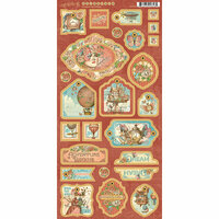 Graphic 45 - Imagine Collection - Die Cut Chipboard Tags