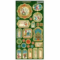 Graphic 45 - Christmas Magic Collection - Die Cut Chipboard Tags