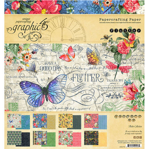 Graphic 45 - Flutter Collection - 8 x 8 Paper Pad