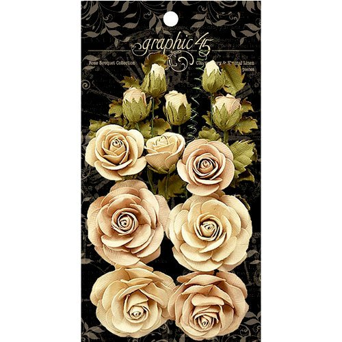 Graphic 45 - Rose Bouquet Collection - Floral Embellishments - Classic Ivory and Natural Linen