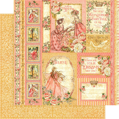Graphic 45 - Princess Collection - 12 x 12 Double Sided Paper - Beautiful Maiden