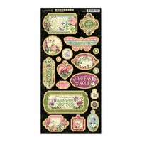 Graphic 45 - Bloom Collection - Die Cut Chipboard Tags