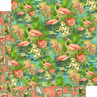 Graphic 45 - Lost In Paradise Collection - 12 x 12 Double Sided Paper - Flamingo Lagoon