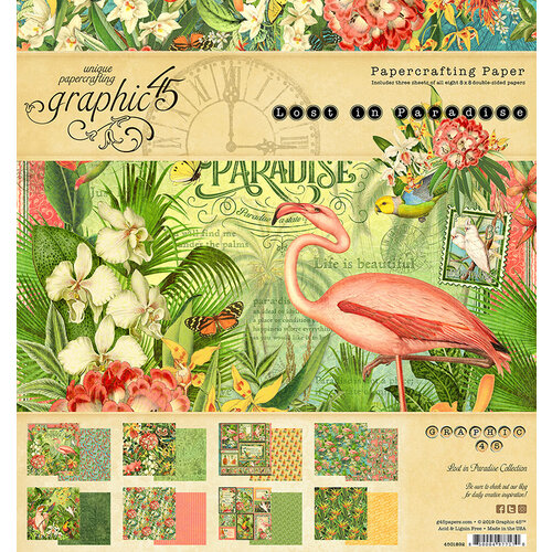 Graphic 45 - Lost In Paradise Collection - 8 x 8 Paper Pad