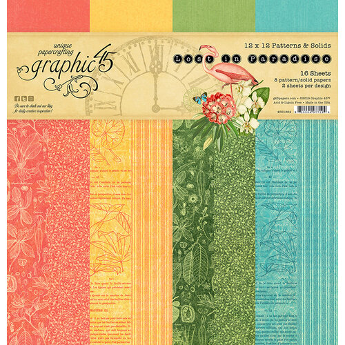 Graphic 45 - Lost In Paradise Collection - 12 x 12 Patterns and Solids Paper Pad