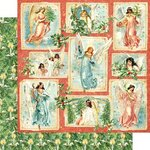 Graphic 45 - Christmas - Joy to the World Collection - 12 x 12 Double Sided Paper - Radiant Beams