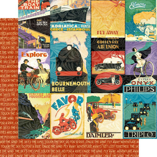 Graphic 45 - Life's A Journey Collection - 12 x 12 Double Sided Paper - Chase the Wind