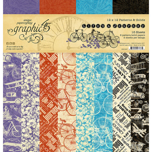 Graphic 45 - Life's A Journey Collection - 12 x 12 Patterns and Solids Paper Pad