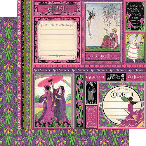 Graphic 45 - Fashion Forward Collection - 12 x 12 Double Sided Paper - April