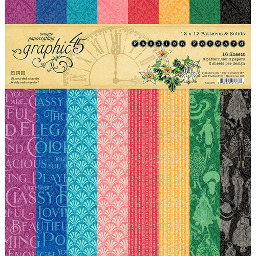 Graphic 45 - Fashion Forward Collection - 12 x 12 Patterns and Solids Paper Pad