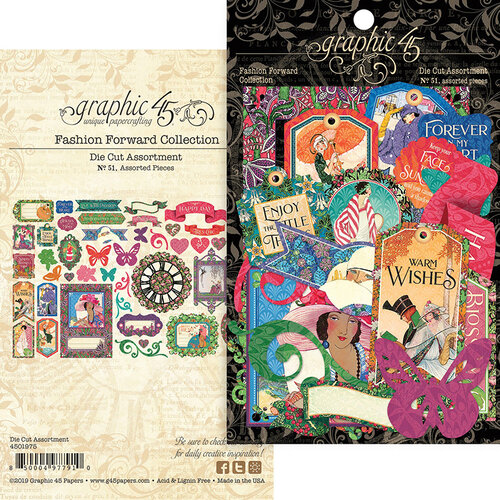 Graphic 45 - Fashion Forward Collection - Embellishments - Die Cut Assortment