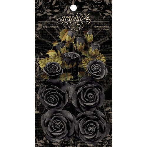 Graphic 45 - Staples Collection - Flower Embellishments - Rose Bouquet - Photogenic Black