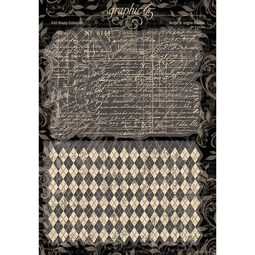 Graphic 45 - Staples Collection - Clear Photopolymer Stamps - Script and Argyle
