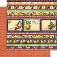 Graphic 45 - Fruit and Flora Collection - 12 x 12 Double Sided Paper - Fabulous Fruit