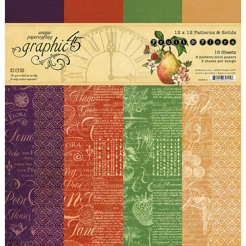 Graphic 45 - Fruit and Flora Collection - 12 x 12 Patterns and Solids Paper Pad