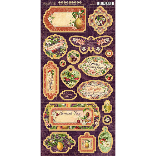 Graphic 45 - Fruit and Flora Collection - Chipboard